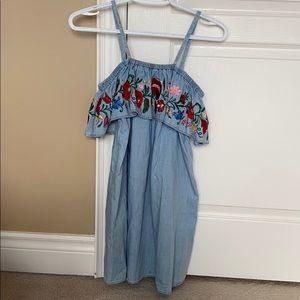 Topshop floral off-shoulder denim blue dress
